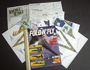 1996 Fold N' Fly Jet Fighter Cut-Out Paper Models. F-16, F-18, F-5 & Kfir-C2