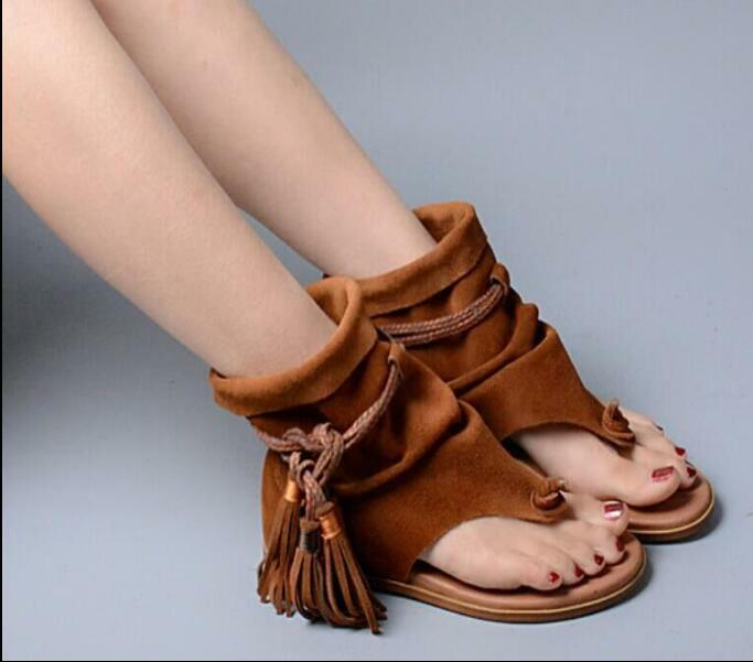 Roman femmes Retro Flats Suede Tassel Gladiator Boho Thong Sandals Slouch bottes