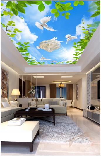3D Sun Pigeons 743 Ceiling WallPaper Murals Wall Print Decal Deco AJ WALLPAPER