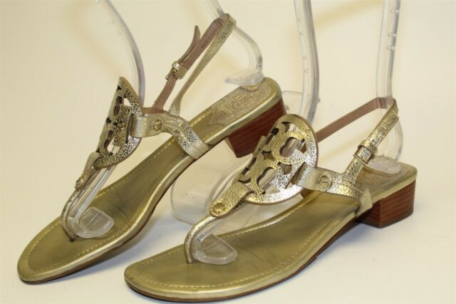 Tory Burch Miller Block Heel Womens 8.5 M Gold Leather Thongs Sandals Shoes