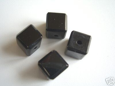 Cristal taille-Cube 8x8mm noir neuf perles 1363