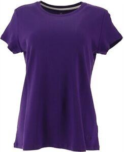 Isaac-Mizrahi-Live-Essentials-Women-039-s-Pima-Cotton-Crew-Top-Purple-L-A367967