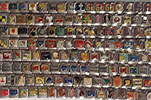 50 Assorted 9mm Stainless Steel Italian Charms All Different Nice Wholesale Lot