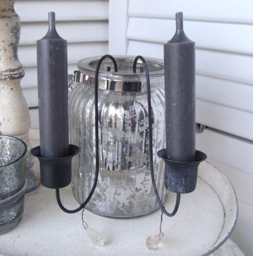 Kerzenhalter PRISMA 13 cm antik kohle Schmuckanhänger Acrylglas Weihnacht Schmuc