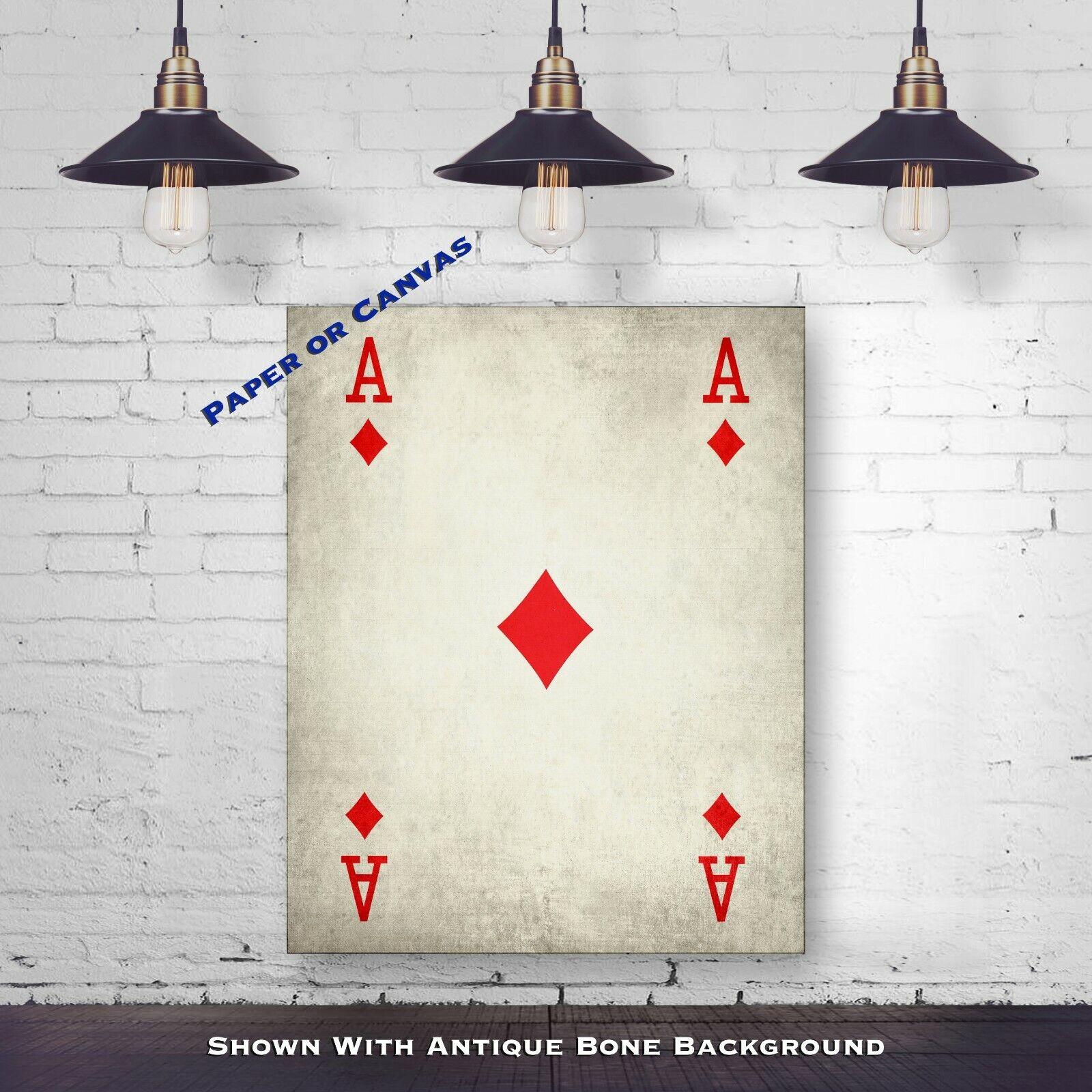 Vintage Ace Of Diamonds Poker Print - Playing Card Poster - Poker Wall Decor