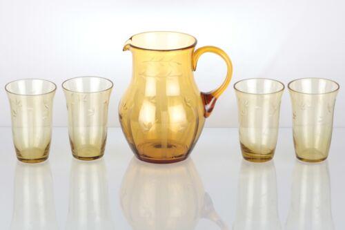 Saft Service Glas 4 Becher Gläser & Krug bernstein gelb Schliff floral ~ 30er W3