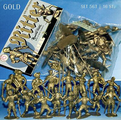 BEUTEL LAGERBESTAND PLASTIK FIGUREN MANURBA GOLD RITTER SET 563 KOMPL.16 FIG