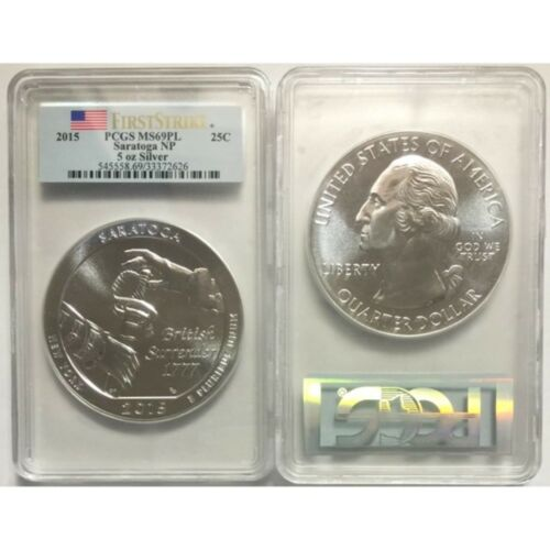 2015 5 oz Silver ATB Saratoga National Park Coin PCGS MS69 PL FS