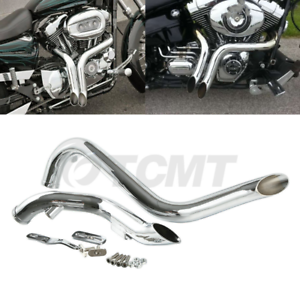 """TCMT Chrome 1 3/4"""" Drag Pipes Exhaust For Harley Touring Sportster Dyna Softail"""