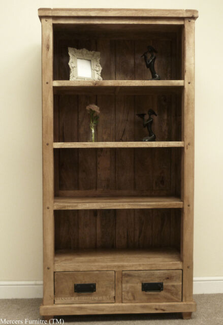 Baku Light Natural Solid Mango Large Tall 2 Drawer Bookcase by Mercers Furniture