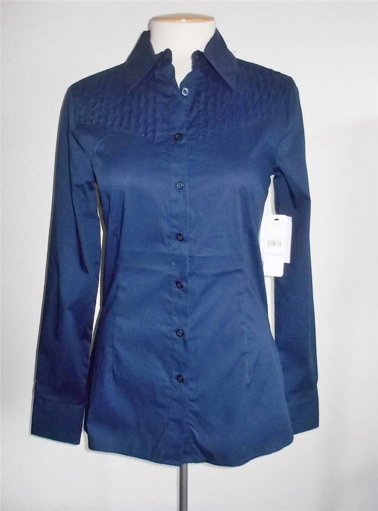 LAUNDRY BY SHELLI SEGAL MS Größe 6 MIDNIGHT Blau LONG SLEEVE PLEATED YOKE BLOUSE