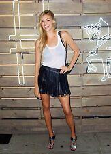 Rare! ZARA Black Leather Fringe Mini Skirt S Small Grunge