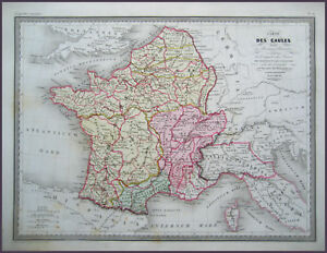 FRANCE-ROMAN-DES-GAULES-GENUINE-MALTE-BRUN-MAP-1846