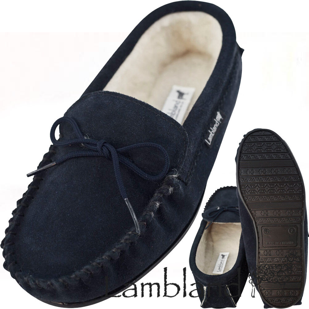 Lambland Mens Navy Blue Suede Lambswool Moccasins with Hard Wearing Sole