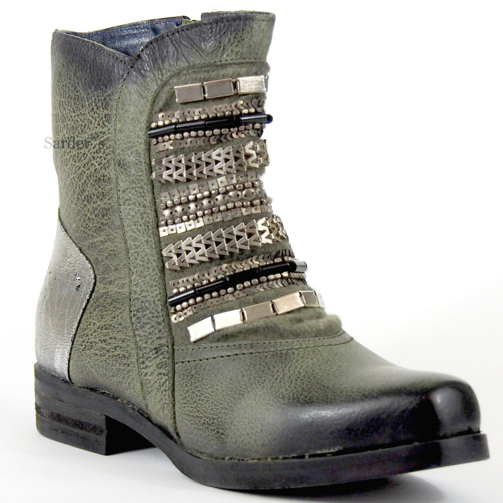 Zapatos especiales con descuento XYXYX Stiefelette 37 Nappa LEDER Oliv Silber Used Boots Schmuck Hand Made So NEU