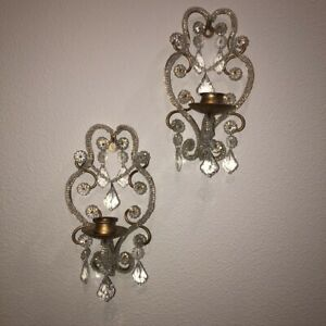 VTG-Murano-Glass-Candle-Wall-Sconces-Pr-Venetian-Chandelier-Style-Prisms-Beaded