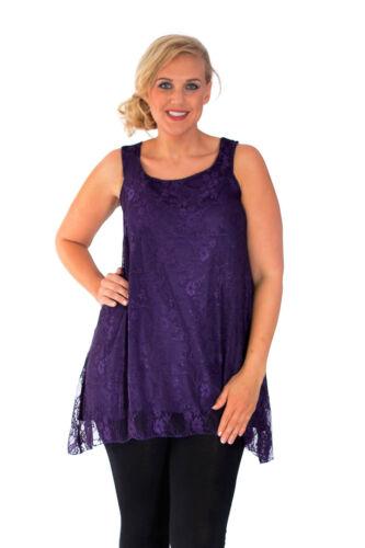 New Womens Plus Size Top Ladies Floral Lace A-Line Top Asymmetric Tunic Vest