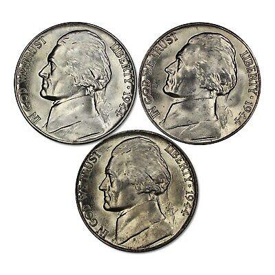 1938 P D S JEFFERSON NICKEL 5C SET GEM BU BRILLIANT UNCIRC 3 COIN LOT