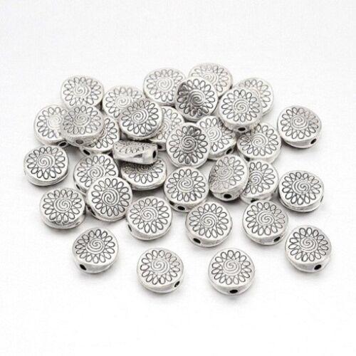 15 Perles Intercalaires Rondes Fleur 8.5mm en métal argenté