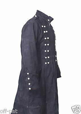 """REDUCED Real Leather Goth Long Coat Steampunk Gothic Trench 42"""" (106.7cm) Chest"""