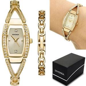 Sekonda Ladies Womens Dress Watch Gold Stone Set with Champagne Dial Bracelet