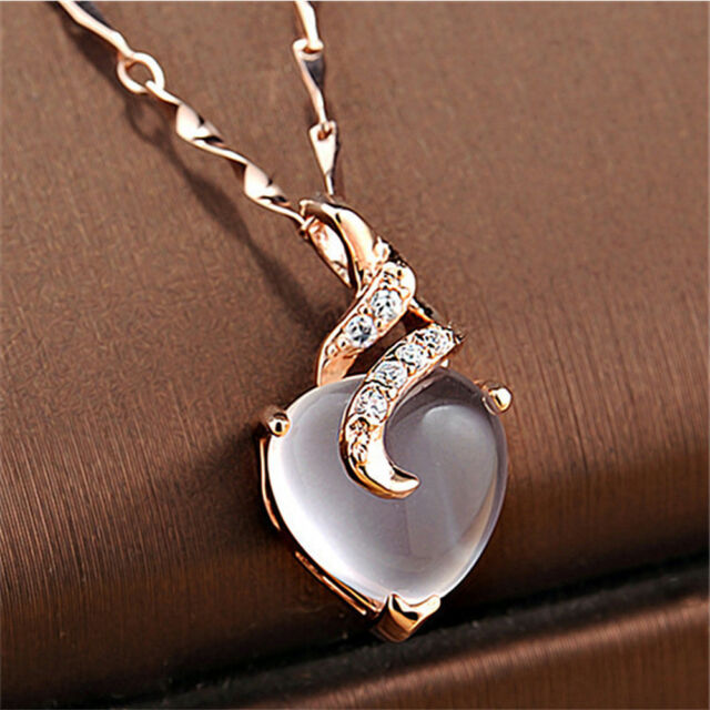 1 Pc Women Natural Hibiscus Stone Heart Pendant Rose Gold Chain Necklace Jewelry