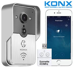 KONX KW01 Gen2, Interphone Vidéo Connecté 720p Wi-Fi, Full Duplex + Sonnette