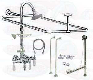 Chrome Clawfoot Tub Faucet Add A Shower Kit Wdrain Supplies Stops