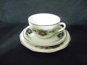 Vintage-3-Piece-Teacup-Dessert-Set-China-Pink-Rose-Blue
