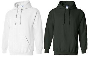 Mens-Gildan-Sweatshirt-Heavyweight-Pullover-Hoodie-Cotton-Sz-Medium-Black-White
