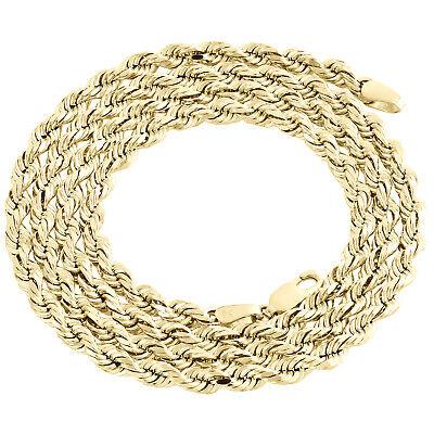 10k Gelbgold Halb Solider Diamant Schliff Schnur Kette 3.75mm Schicke Link