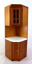 Dolls House Miniature Kitchen Furniture Fitted Corner Unit Walnut