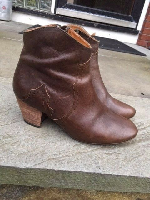 Isabel Marant SZ 37/US 7 Brown/Olive Leather Dicker Ankle Boots Booties