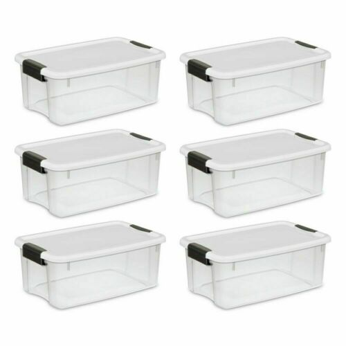 Sterilite 19849806 18 Quart 17 Liter Ultra Latch Box Storage Container 6-Pack