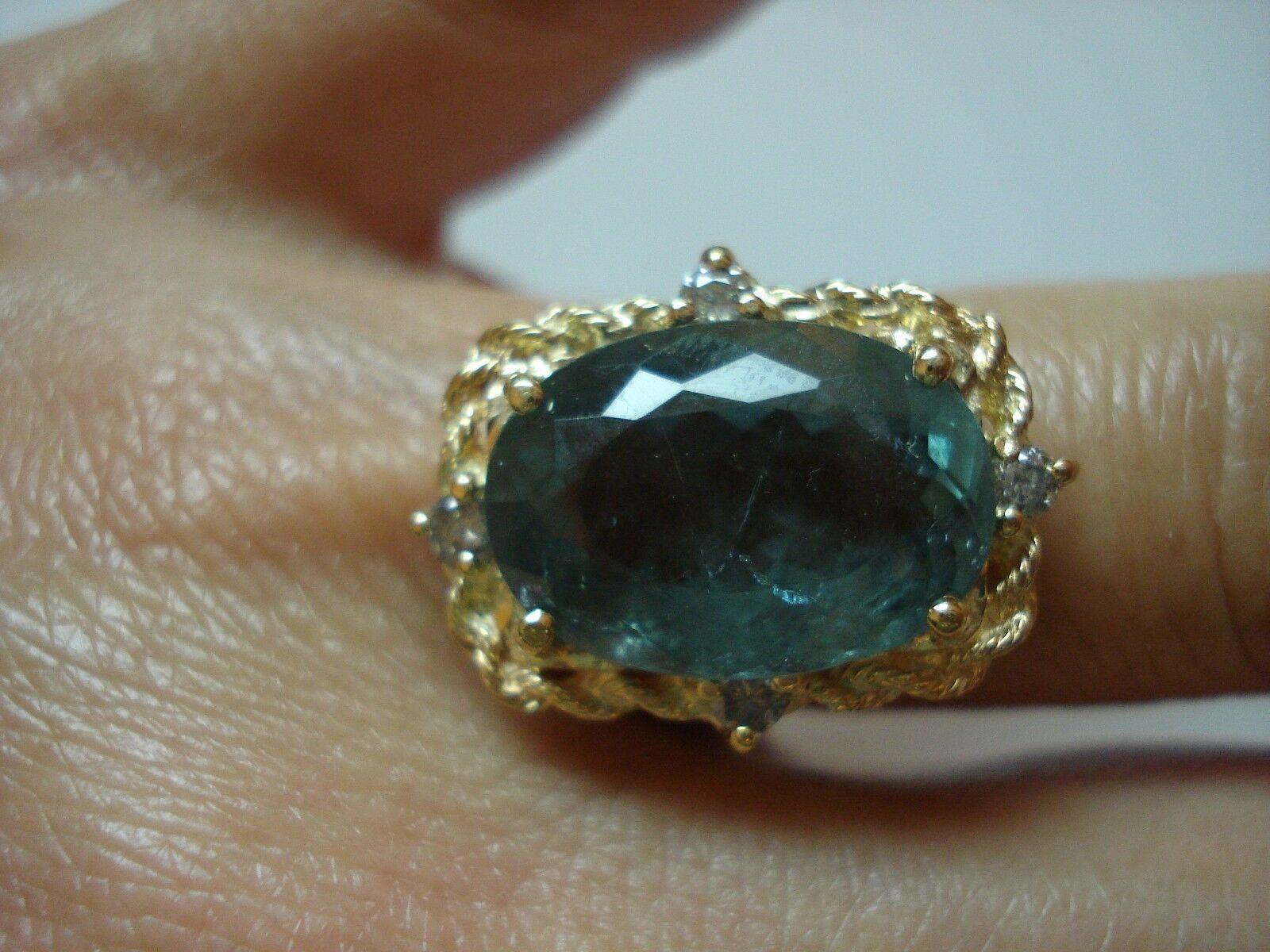 Certified  5K giftLarge Vtg 14k gold diamond bluee tourmaline RingSize7Free SH