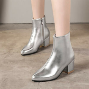 7aa291f3081b4 Details about Winter Womens Glitter Ankle Boots Pointed Toe Side Zip  Elegant Mid Heel Booties