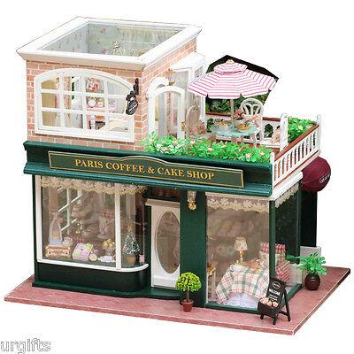 Dollhouse DIY Model Kit w/ Light France Paris Cafe Cake Coffee Store Bakery Shop