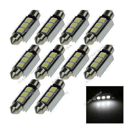 10X White 39MM 3 5050 Canbus Error Free Festoon Dome LED Light Roof Bulb I213