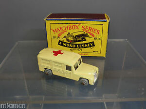 Boîte d'allumettes Moko Lesney, modèle n ° 14b, ambulance Daimler Mib