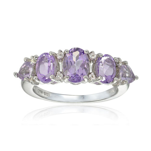 Sterling Silver Amethyst and White Topaz 5-Stone Half Eternity Band Ring