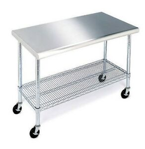Stainless-Steel-Top-Work-Table-Kitchen-Restaurant-Prep-NSF-Casters-24-034-x-49-034