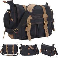Men's Vintage Canvas Leather School Military Shoulder Messenger Bag Black on sale