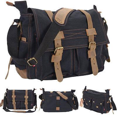 Men's Vintage Canvas Leather School Military Shoulder Messenger Bag Black