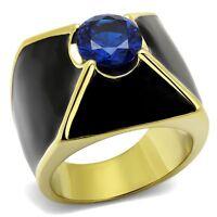 TK2640 Mens Steel & gold  Black Sapphire  MASONIC  PINKY SIGNET RING solitaire
