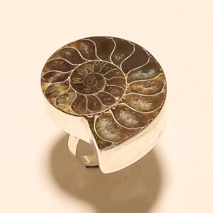 Natural-Italian-Ammonite-Shell-Ring-925-Sterling-Silver-Handmade-Fine-Jewelry-AA