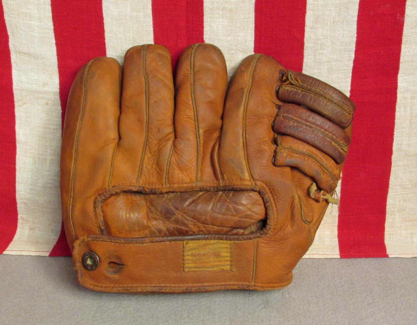 Vintage 1940s Jahre Nokona Leder Leder Leder Baseball Handschuh Fänger Mitt Ff Kreuz Sieht 7c21d6