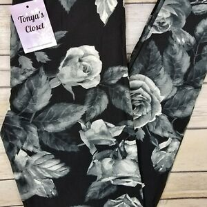 PLUS-Size-Black-Gray-Rose-Leggings-Floral-Printed-Buttery-Soft-Curvy-10-18-TC