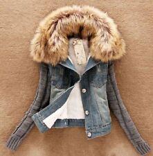 Winter Warm Womens Detachable Faux Fur Collar Fleece Lined Denim Coat Jacket 4XL