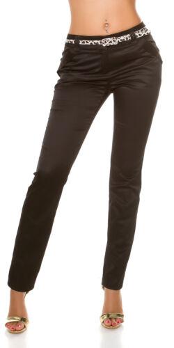 Women/'s Slim Fit Trouser Satin Pant Belt XS//S//M//L