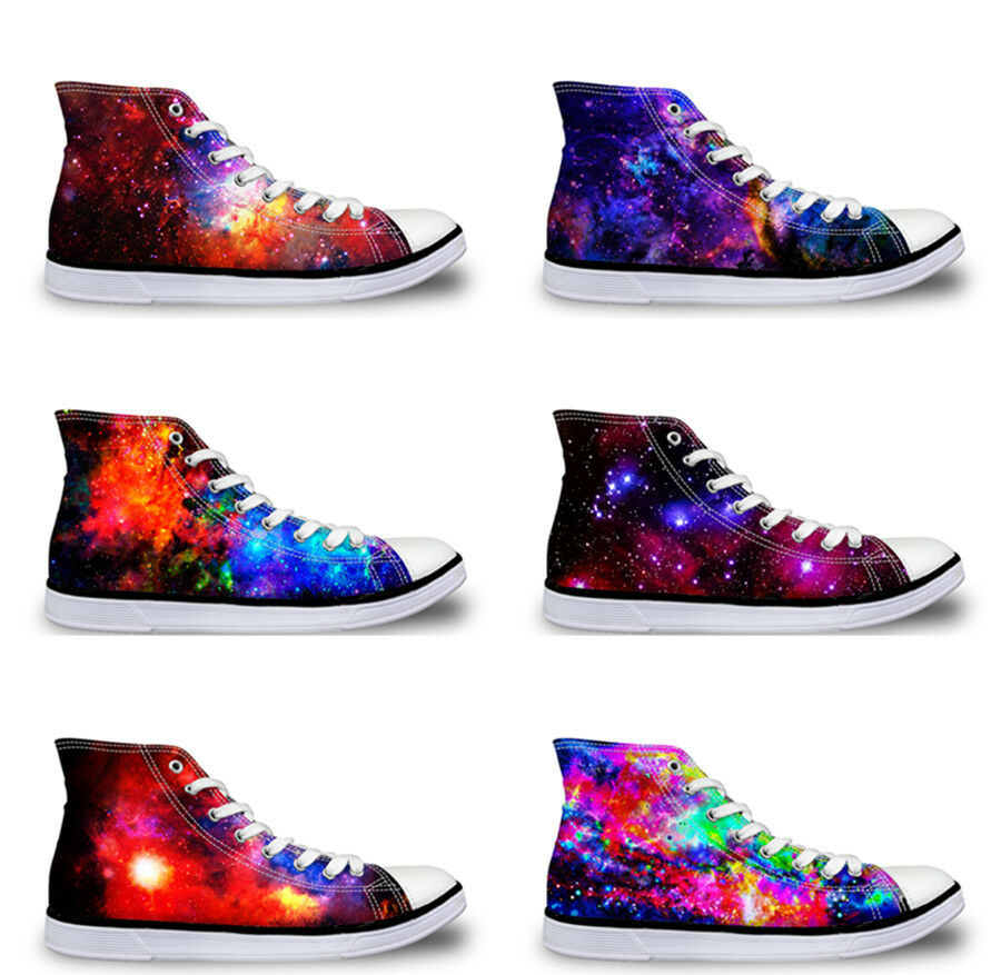 Cool Galaxy Mens Hi Tops Canvas Trainers shoes Comfort Flat Lace Up Sneakers Men